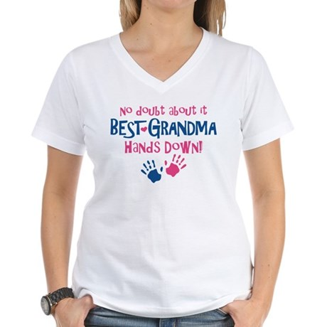 Hands Down Best Grandma Women's V-Neck T-Shirt