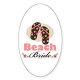 Beach Bride Wedding Oval Sticker (50 pk)