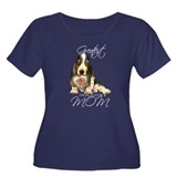 Basset Mom Women's Plus Size Scoop Neck Dark T-Shi