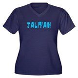 Jaliyah Faded (Blue) Women's Plus Size V-Neck Dark