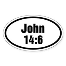 John 14:6 Bible Verse Oval Sticker (10 pk)