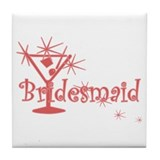 Red C Martini Bridesmaid Tile Coaster