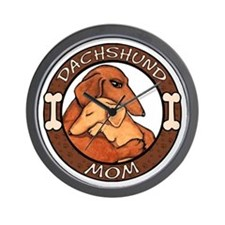 Dachshund Mom Hug Wall Clock