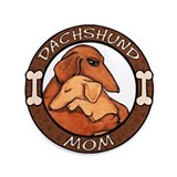 "Dachshund Mom Hug 3.5"" Button"