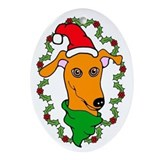 Oval Ornament Red Greyhound Holly