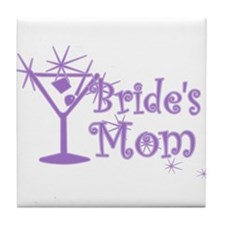Purple C Martini Bride's Mom Tile Coaster