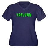 Jaylynn Faded (Green) Women's Plus Size V-Neck Dar