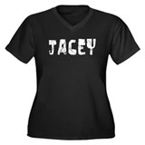 Jacey Faded (Silver) Women's Plus Size V-Neck Dark