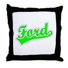 Retro Ford (Green) Throw Pillow