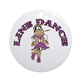Line Dance Cowgirl Ornament (Round)