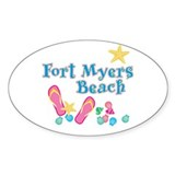 Ft. Myers Beach Flip Flops - Oval Decal