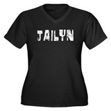 Jailyn Faded (Silver) Women's Plus Size V-Neck Dar