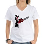 Teddy Bear with chainsaw Women's V-Neck T-Shirt
