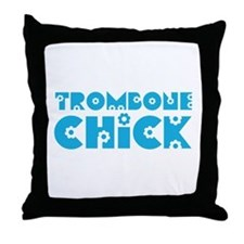 Trombone Chick Throw Pillow