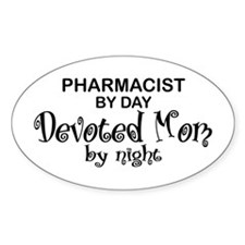 Pharmacist Devoted Mom Oval Decal