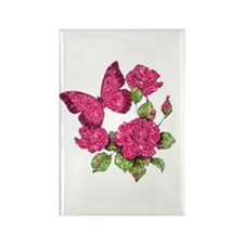 Red Glitter Butterfly Rectangle Magnet