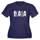 Kaia Faded (Silver) Women's Plus Size V-Neck Dark