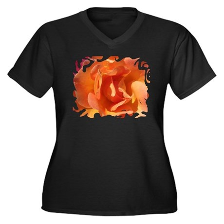 Rose Close Up Women's Plus Size V-Neck Dark T-Shir