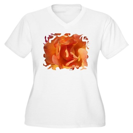 Rose Close Up Women's Plus Size V-Neck T-Shirt