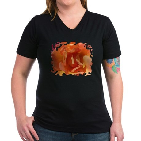 Rose Close Up Women's V-Neck Dark T-Shirt