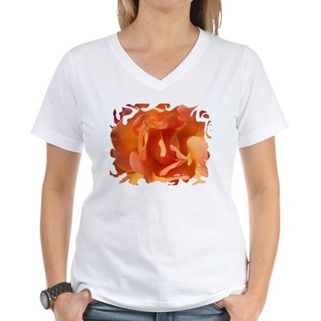 Rose Close Up Women's V-Neck T-Shirt