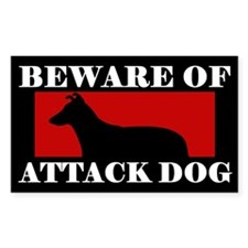 Beware of Attack Dog smooth Collie Decal