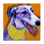 Greyhound dog art Tile Coaster