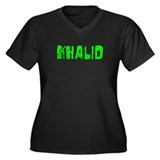 Khalid Faded (Green) Women's Plus Size V-Neck Dark