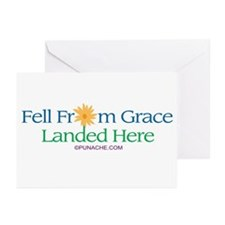 FELL FROM GRACE LANDED HERE Greeting Cards (Packag