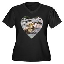Sea Otters Women's Plus Size V-Neck Dark T-Shirt