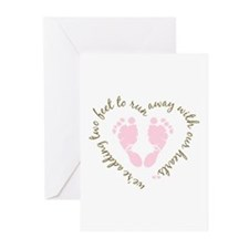 Adding Two Feet (pink) Greeting Cards (Pk of 10)