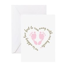 Adding Two Feet (pink) Greeting Card