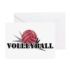 Volleyball starburst red Greeting Cards (Pk of 20)