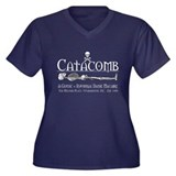 Catacomb Women's Plus Size V-Neck Dark T-Shirt