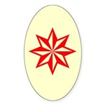 Red Guiding Star Oval Sticker (10 pk)