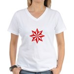 Red Guiding Star Women's V-Neck T-Shirt