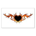 Flame Heart Tattoo Sticker (Rectangle 50 pk)