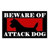 Beware of Attack Dog Cairn Terrier Decal