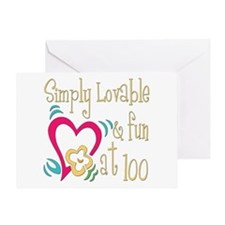 Lovable 100th Greeting Card