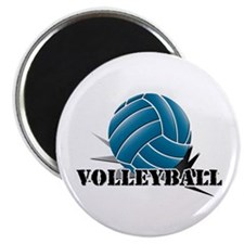 "Volleyball starbust blue 2.25"" Magnet (10 pack)"