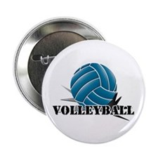 "Volleyball starbust blue 2.25"" Button (10 pack)"