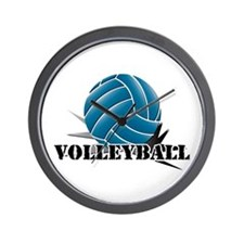 Volleyball starbust blue Wall Clock