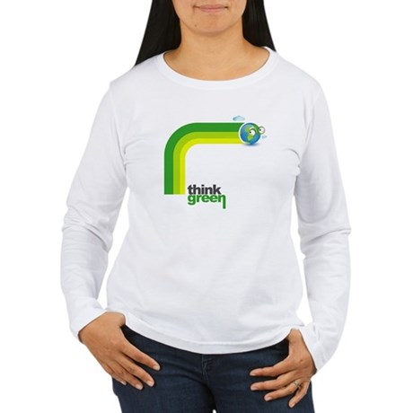 Think Green Earth Rainbow Women's Long Sleeve T-Sh