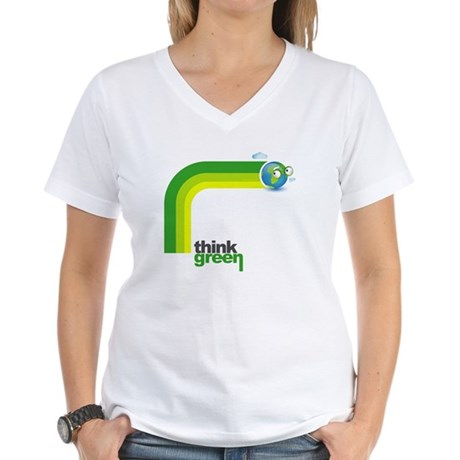 Think Green Earth Rainbow Women's V-Neck T-Shirt