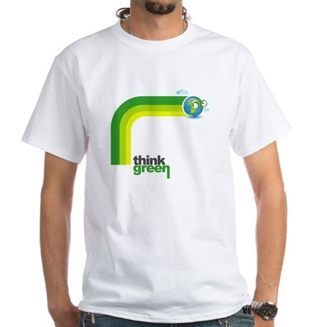 Think Green Earth Rainbow White T-Shirt