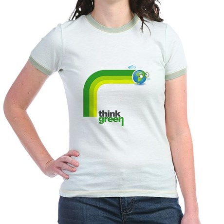 Think Green Earth Rainbow Jr. Ringer T-Shirt