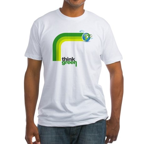 Think Green Earth Rainbow Fitted T-Shirt