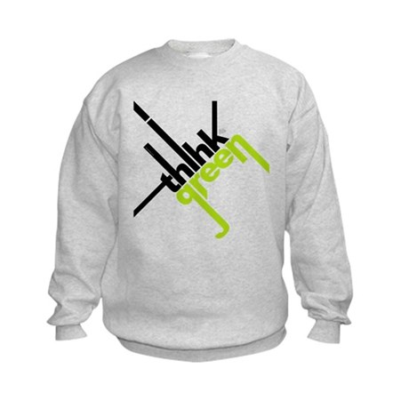Think Green Typography Kids Sweatshirt