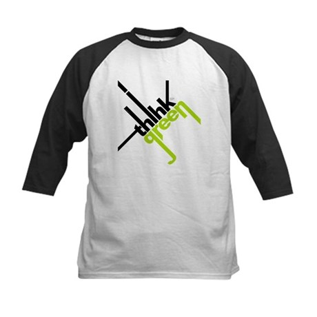 Think Green Typography Kids Baseball Jersey