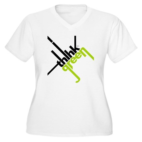 Think Green Typography Women's Plus Size V-Neck T-